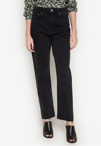 TOPSHOP black Moto Washed  Raw Hem Jeans TO099AA0JZPYPH_1