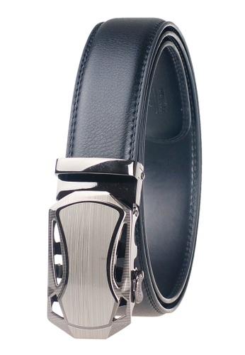FANYU grey Leather Dress Belt With Automatic Buckle 0D7E3AC3E6DBCEGS_1