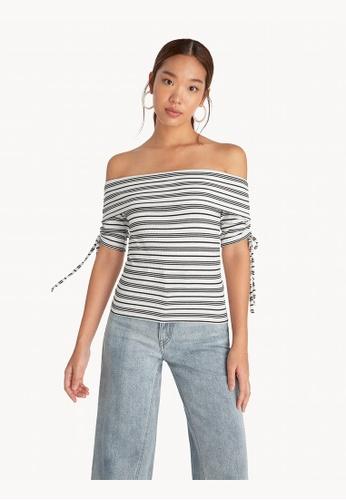 Pomelo white Striped Off Shoulder Top - White 32B3DAA53560A6GS_1