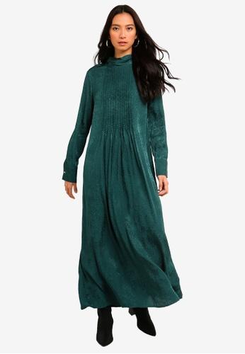TOPSHOP green Jacquard Pintuck Dress C790FAA061082EGS_1