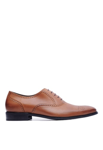 Life8 brown Nappa Cow Leather Embossed Oxford Shoes-09148-Brown LI283SH37KUWSG_1