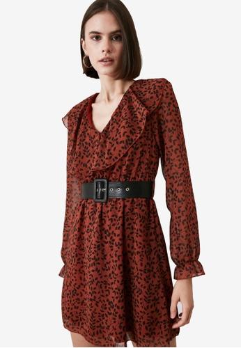 Trendyol orange Ruffle Detail Belted Dress 7ECF3AA62B1D24GS_1