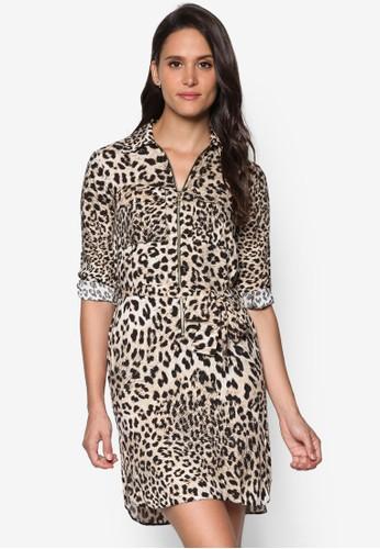 拉鍊印花襯衫連身裙、 服飾、 服飾DorothyPerkins拉鍊印花襯衫連身裙最新折價