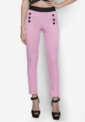 鈕zalora 包包評價飾高腰緊身長褲, 服飾, 長褲及內搭褲