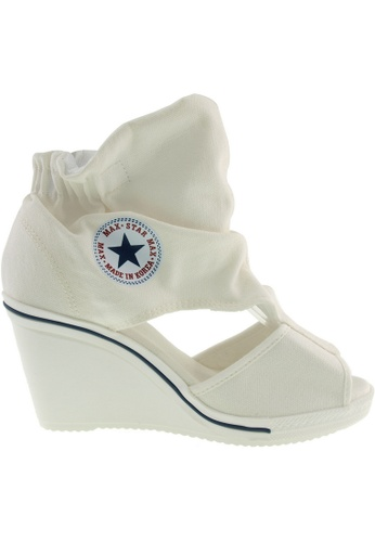 Maxstar white Maxstar Women's 775 Open Toe Elastic Ankle Canvas Wedge Heel Sandals US Women Size MA164SH95QROSG_1