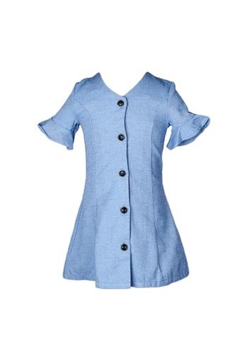 Mini Moley blue Brushed Cotton Girl's Button Down Dress BC883KA37D1FBAGS_1