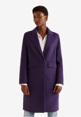 Mango purple Lapel Wool Coat 8F195AAD54135AGS_1