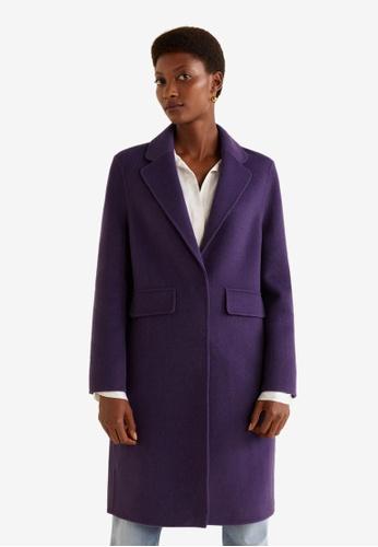 MANGO purple Lapel Wool Coat 8F195AAD54135AGS_1