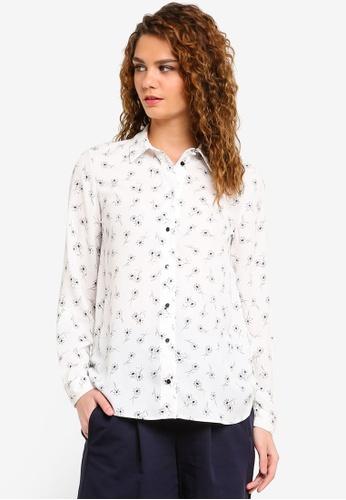 Dorothy Perkins white Ivory Daisy Roll Sleeve Shirt DO816AA0RMXWMY_1