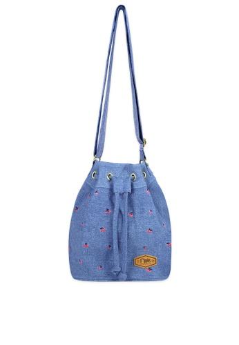 Ripples blue Cherry Embroidery Denim Bucket Sling Bag B8D23AC18A0027GS_1