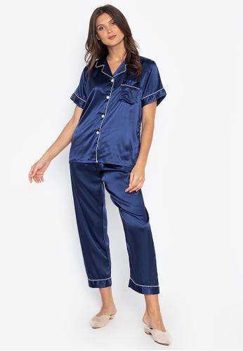 FEMINISM blue Shortsleeve Pajama Set CD859AA92EE130GS_1