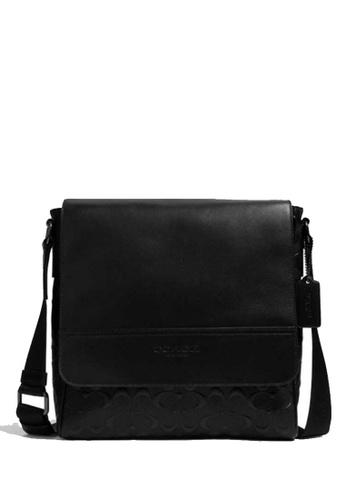 COACH black COACH Houston Map Bag In Signature Leather EBD51ACACE72AFGS_1