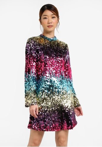Miss Selfridge multi Flute Sleeve Sequin Dress MI665AA0SHUVMY_1