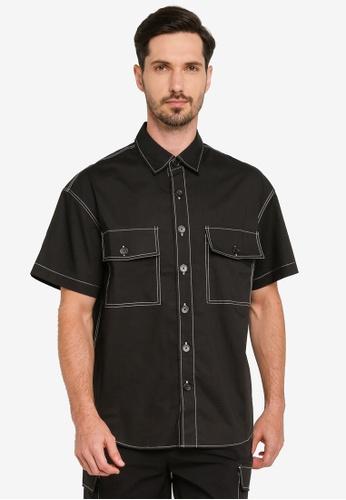 Urban Revivo 黑色 Fashion Loose 襯衫 CD631AAD3176CCGS_1
