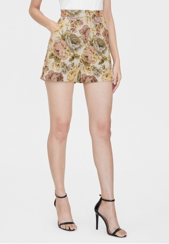 Pomelo beige Floral High Waisted Shorts - Cream 9A125AA53012C0GS_1