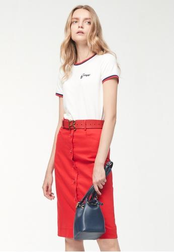 iROO red A Line Skirt 9F4EEAAA6C8D7EGS_1