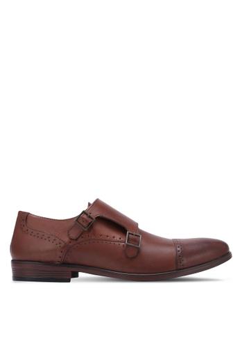 Burton Menswear London brown Leather Monk Strap With Punch Detail BU964SH0S7F4MY_1