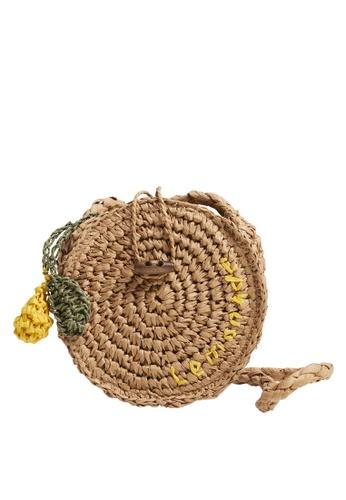 MANGO KIDS brown Rounded Straw Bag DDE09KC9B19BDDGS_1