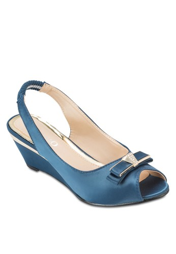 蝴蝶結露趾繞踝楔型鞋, 女鞋, 魚口楔形esprit 手錶鞋
