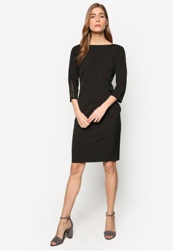 Collectesprit台北門市ion 蕾絲拼接七分袖及膝連身裙, 服飾, 洋裝