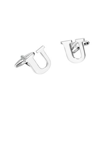 Glamorousky silver Simple Personality English Alphabet U Cufflinks AF39CAC116D4D9GS_1