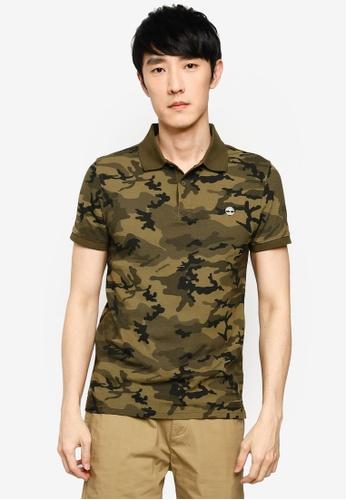 Timberland green Millers River AOP Pique Slim Polo Shirt 6137BAAD25DE55GS_1