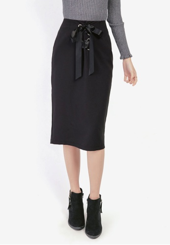 Yoco black Lace-Up Midi Skirt 6D0E6AAB06E24BGS_1