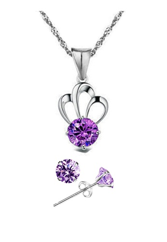 YOUNIQ silver YOUNIQ Her Highness 925 Sterling Silver Necklace Pendant with Purple Cubic Zirconia & Earrings Set YO999AC22SFTMY_1