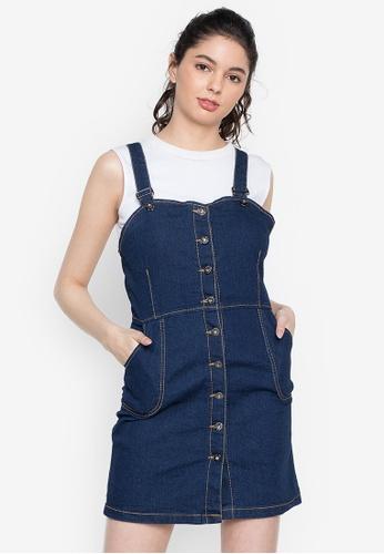 Ninety Nine Point Nine Boutiq blue Classic Full-Button Denim Overall Dress Skirt ECC1BAAD641B57GS_1