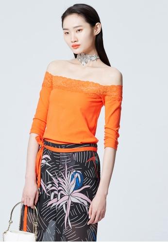 iROO orange Off Shoulder Blouse 80B81AA0AB0F2CGS_1