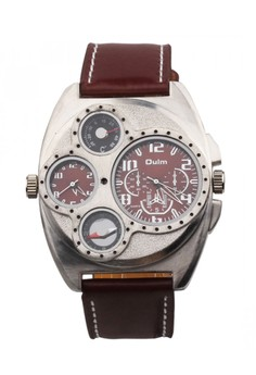 OULM Luxury Leather Thermometer Compass Watch - Brown