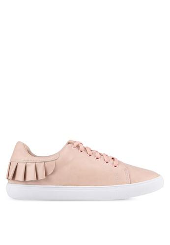 Velvet 米褐色 摺邊 花邊運動鞋 B36B9SH6D19C55GS_1