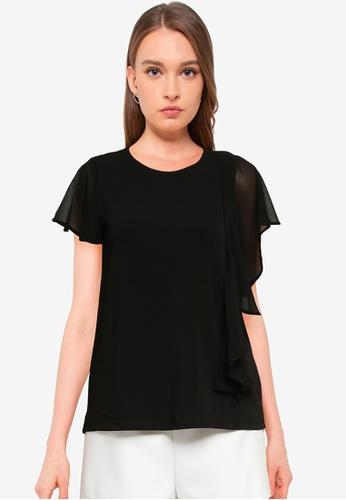Vero Moda black Alberta Short Sleeve Frill Flounce Top 04426AA2965996GS_1