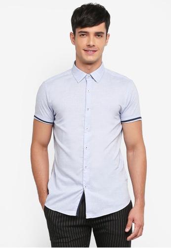 Topman blue Blue Slub Shirt B4002AAD9D25FAGS_1