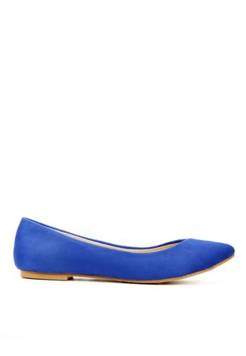 KissXXX 藍色 時尚心機V型淺口舒適平底休閒鞋 KI603SH09MS9TW_1