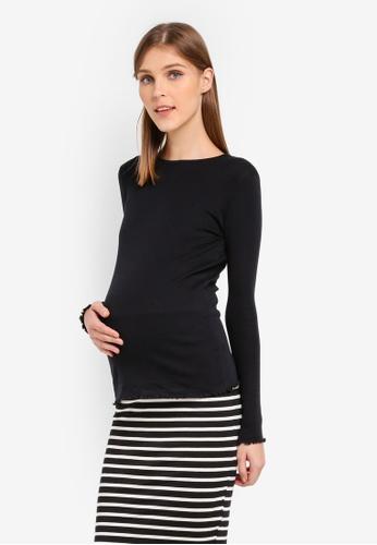 TOPSHOP black Maternity Long Sleeve Lettuce Hem T-Shirt TO412AA0SRSXMY_1