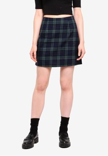 Something Borrowed green Check A-Line Mini Skirt 1A658AA6FE377CGS_1