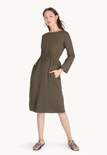 Pomelo green Elastic Waist Over The Knee Dress - Brown 69D55AA26E46C9GS_1