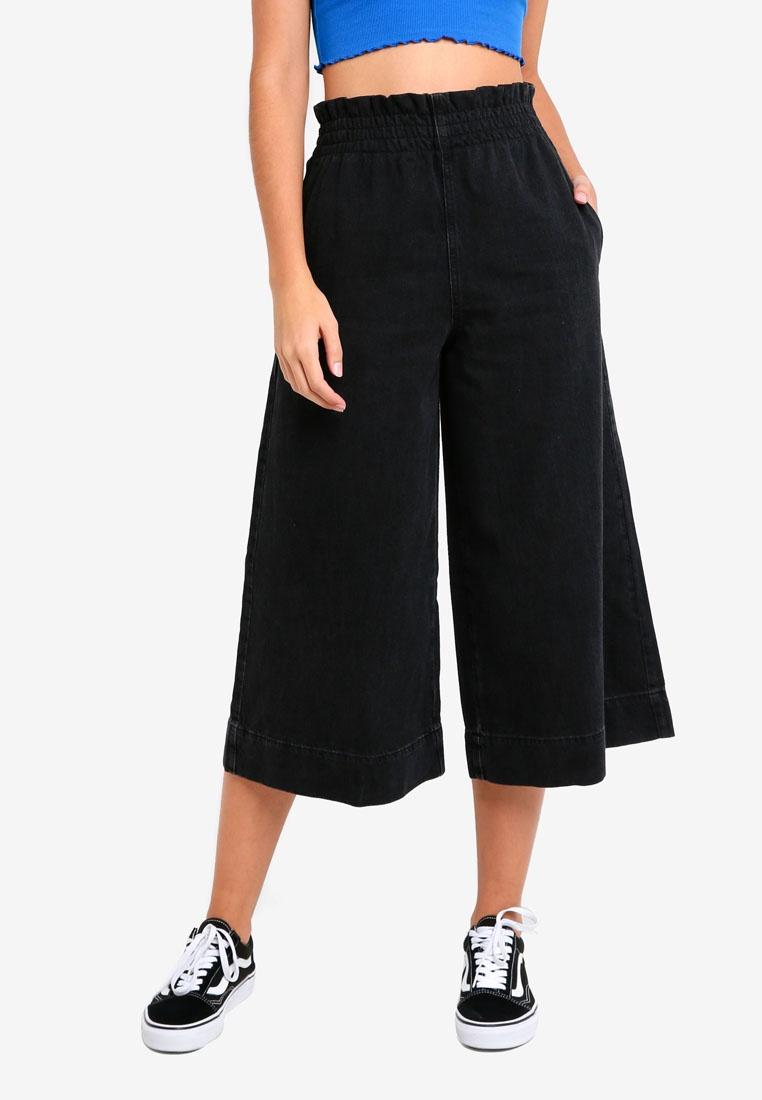 MOTO Black TOPSHOP Wash Waist Shirred Black Jeans Washed pEdnnqa