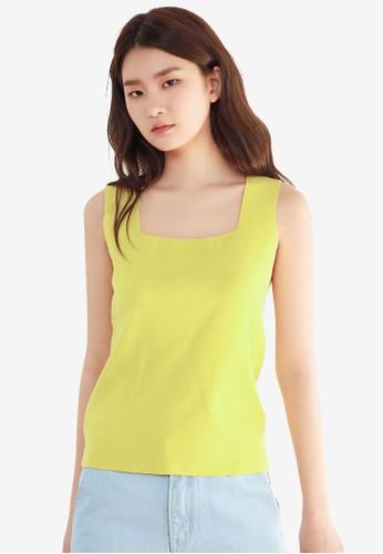 NAIN yellow Square Neck Knit Top E083EAA65D1251GS_1
