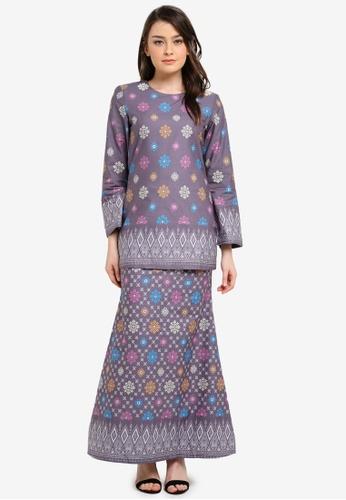 Butik Sireh Pinang grey Aiinia Cotton Short Modern Kurung with Songket Print BU003AA0S26IMY_1