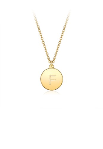 Glamorousky silver Fashion Simple Plated Gold Letter F Round Pendant with Necklace D4EA6AC5B25F92GS_1