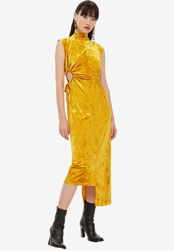 f9b6cc5488bac5 Buy TOPSHOP Velvet Ruched Midi Dress Online on ZALORA Singapore