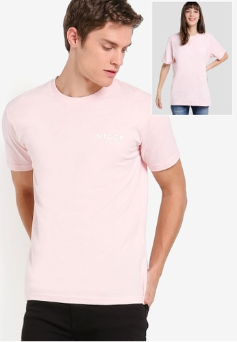 Nicce London pink Chest Logo T-Shirt NI146AA26THDMY_1