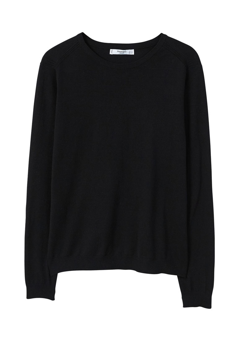 Mango Knit Fine Cotton Sweater Black Ax6ZqAn