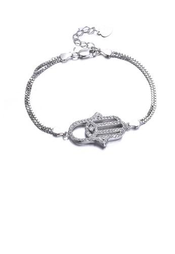Glamorousky white 925 Sterling Silver Fashion Simple Devil's Hand Cubic Zircon Bracelet FACEDACA51BD2FGS_1