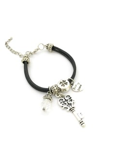 Best Friend Cord Bracelet with Key and Clover Charm