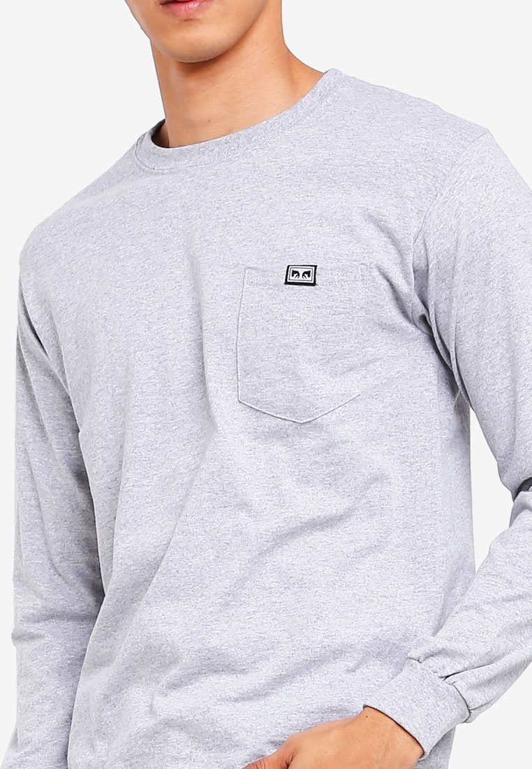 Sleeve Pocket OBEY Grey Long Tee All Eyez Heather w68SqcaP