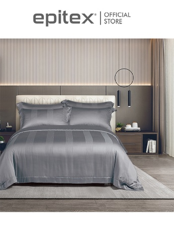 Epitex grey Cressent Dale 1500TC LA3302-3 Dark Grey Valenfil Collection Filagen Collagen Fibre Jacquard Fitted Sheet (w/o quilt cover) AD1B2HL515FB54GS_1