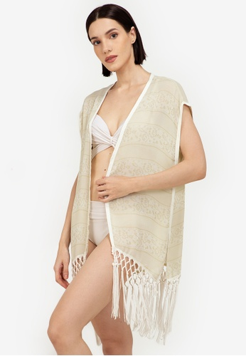 Eve's Chic white Beatrice Cover Up Blouse With Fringe 0C8CEUSBBA7EA8GS_1
